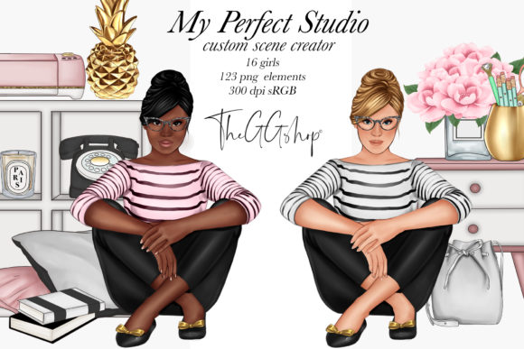 Print on Demand: Planner Girl Scene Creator Set Graphic Illustrations By TheGGShop
