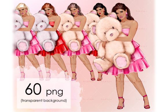Plus Size Woman with Bear Toy Clipart Graphic Illustrations By arctiumstudio