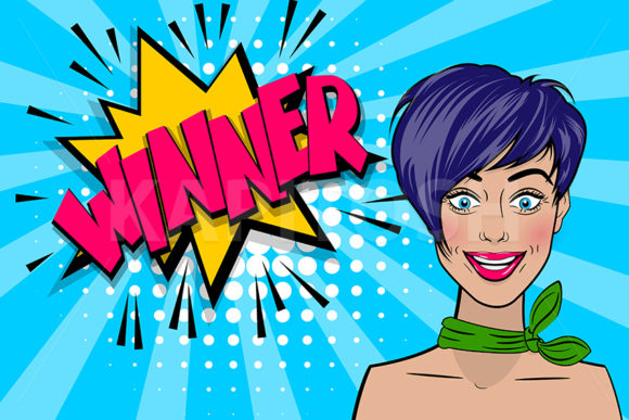 Pop Art Woman is a Winner Comic Text Graphic Illustrations By Kapitosh