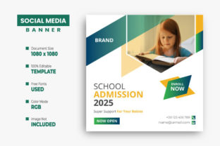 School Admission Instagram Banner Design Graphic Web Templates By VectStock