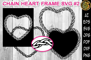 Print on Demand: Chain Heart Border Frame SVG Cut Files 2 Graphic Print Templates By V-Design Creator