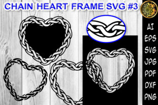Print on Demand: Chain Heart Border Frame SVG Cut Files 3 Graphic Print Templates By V-Design Creator