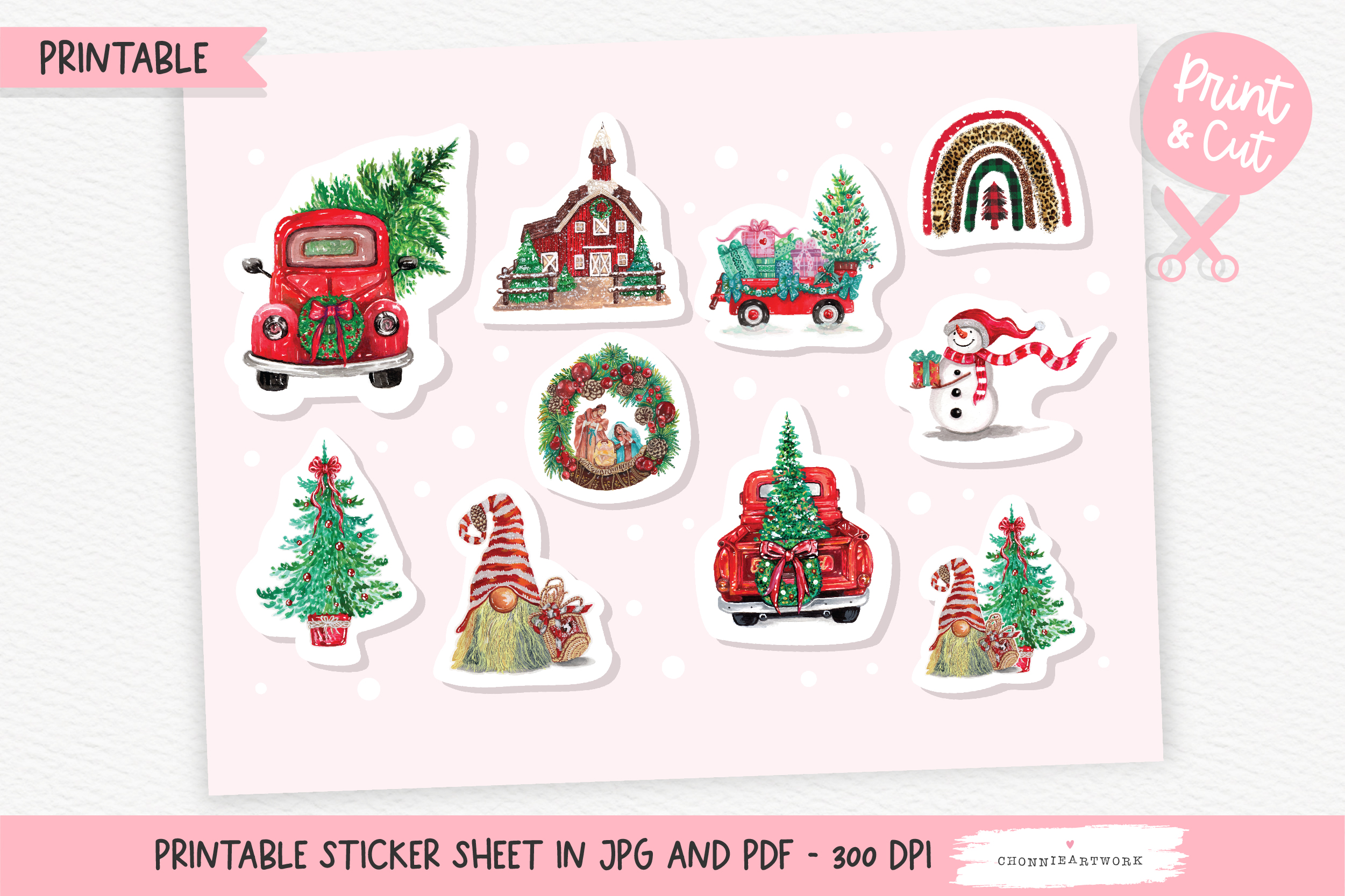 Christmas Car and Tree Sticker SVG File
