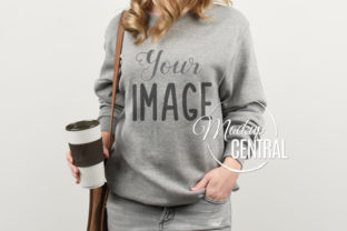 Coffee Woman in Gray Sweatshirt Mockup Graphic Product Mockups By Mockup Central