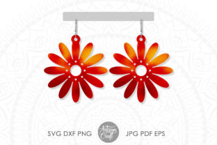 Print on Demand: Daisy Earrings, SVG Cut Files Graphic 3D SVG By Artisan Craft SVG