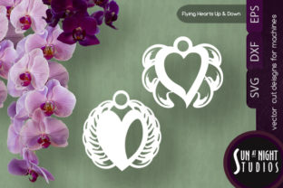 Flying Hearts Up and Down Vector Cuts Graphic Crafts By Sun At Night Studios