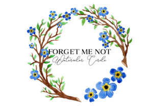 Forget Me Not Watercolor Circle Pattern Graphic Web Elements By Monogram Lovers
