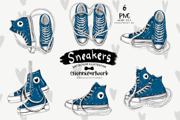 Navy Blue Sneakers with Pearls Clipart Graphic