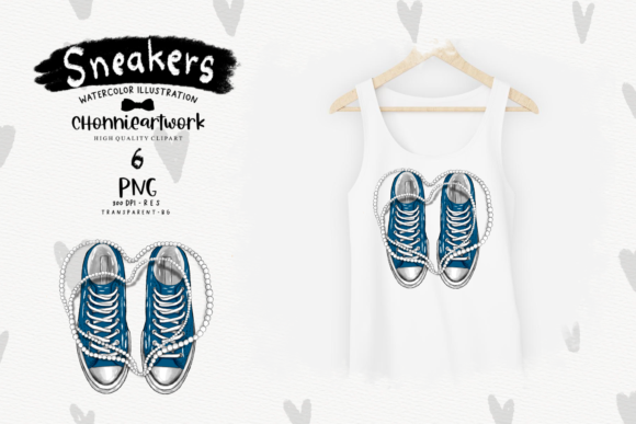 Navy Blue Sneakers with Pearls Clipart Graphic Item