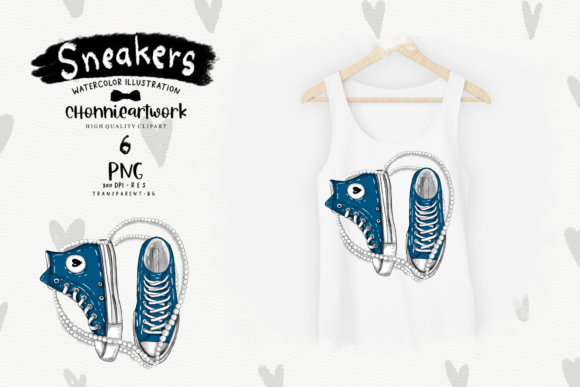 Navy Blue Sneakers with Pearls Clipart Graphic Design