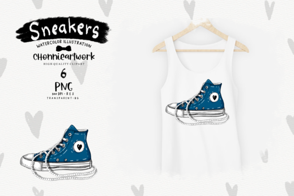 Navy Blue Sneakers with Pearls Clipart Graphic Preview