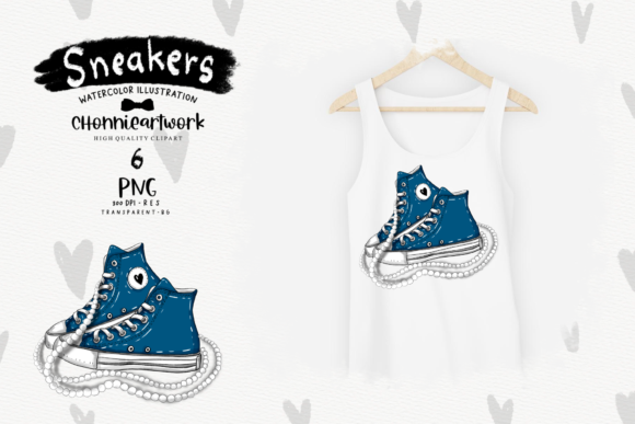 Navy Blue Sneakers with Pearls Clipart Graphic Image