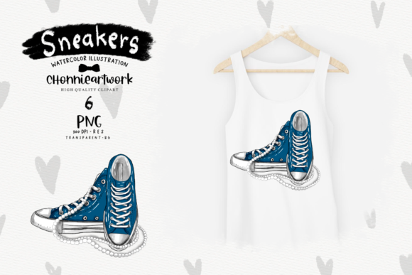 Navy Blue Sneakers with Pearls Clipart Graphic Design Item