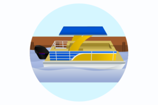 Pontoon Boat at the Bank of a River Graphic Illustrations By faqeeh