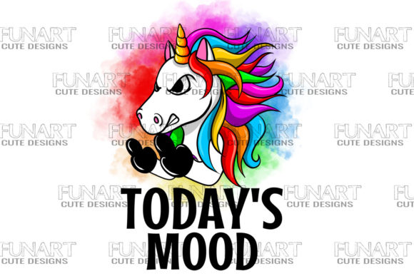 Today's Mood Unicorn , Rainbow , PNG Graphic Illustrations By Fundesings