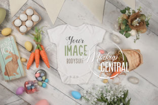 White Easter Onepiece Bodysuit Mockup Graphic Product Mockups By Mockup Central