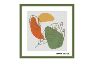Print on Demand: Abstract Leaves Cross Stitch Pattern Graphic Cross Stitch Patterns By Tango Stitch