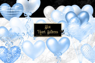 Print on Demand: Blue Heart Balloons Clipart Graphic Illustrations By Digital Curio