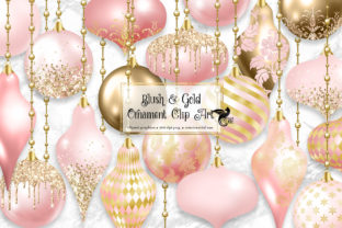 Print on Demand: Blush and Gold Christmas Ornaments Clipa Graphic Illustrations By Digital Curio
