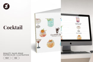 Cocktail Set2 Watercolor Illustration Graphic Illustrations By Chanut is watercolor