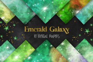 Print on Demand: Emerald Green Galaxy Space Background Graphic Backgrounds By PinkPearly 1