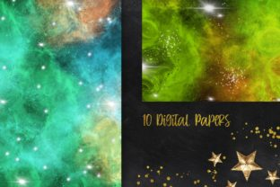 Print on Demand: Emerald Green Galaxy Space Background Graphic Backgrounds By PinkPearly 2