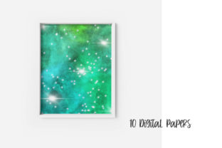 Print on Demand: Emerald Green Galaxy Space Background Graphic Backgrounds By PinkPearly 3