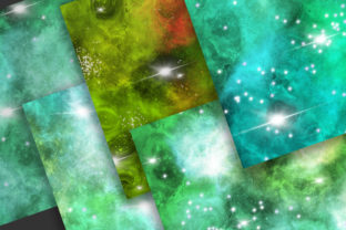 Print on Demand: Emerald Green Galaxy Space Background Graphic Backgrounds By PinkPearly 4