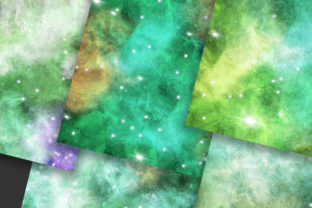 Print on Demand: Emerald Green Galaxy Space Background Graphic Backgrounds By PinkPearly 5