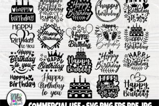 Print on Demand: Happy Birthday SVG Bundle, Birthday Cake Grafik Plotterdateien von nibaartstudio