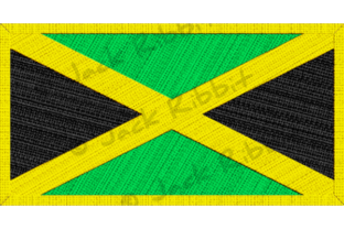 Jamaica Flag Patch with Gold Border Graphic Illustrations By Jack Ribbit