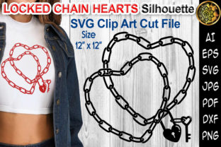Print on Demand: Locked Chain Heart Silhouette Design SVG Graphic Illustrations By V-Design Creator