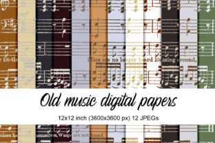 Print on Demand: Old Music Digital Papers Grafik Muster von Andrea Kostelic