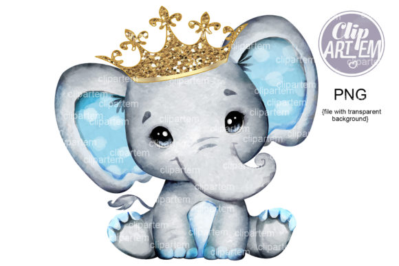 Print on Demand: Royal Gray Blue Elephant Crown PNG Gold Graphic Illustrations By clipArtem