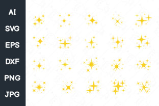 Print on Demand: Sparkling Stars.star and Glittering. Svg Graphic Illustrations By CRStocker