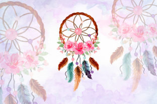 Print on Demand: Watercolor Dream Catcher with Floral 12 Graphic Illustrations By asrulaqroni
