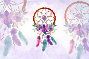 Print on Demand: Watercolor Dream Catcher with Floral 13 Graphic Illustrations By asrulaqroni