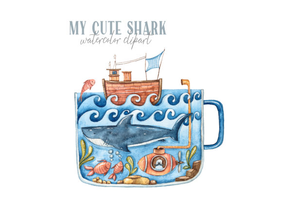 Print on Demand: Watercolor Cute Shark Clipart Graphic Illustrations By Tiana Geo