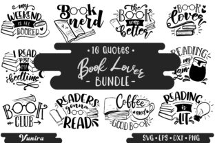 Print on Demand: Book Lover Bundle | 10 Lettering Quotes Graphic Crafts By Vunira