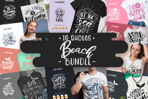 Print on Demand: 10 Beach Bundle | Lettering Quotes Graphic Crafts By Vunira