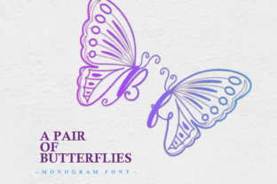 Print on Demand: A Pair of Butterflies Decorative Font By nryntdw