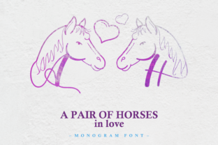 Print on Demand: A Pair of Horses in Love Decorative Font By nryntdw