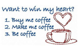 Be Coffee Tea & Coffee Embroidery Design By LaceArtDesigns