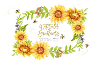 Print on Demand: Bees Clipart Watercolor, Spring Cute Graphic Illustrations By SunflowerLove