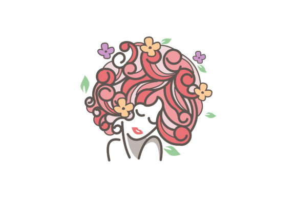 Print on Demand: Blooming Flowers Curly Hair Girl Graphic Illustrations By lexlinx