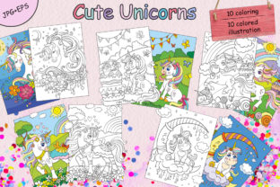 Coloring Book for Children Cute Unicorns Graphic Coloring Pages & Books Kids By Alinart