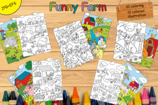 Coloring Book for Children Farm Animals Graphic Coloring Pages & Books Kids By Alinart