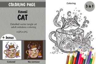 Coloring Kawaii Cat in a Cup Graphic Coloring Pages & Books Adults By Alinart