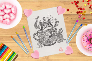 Coloring Kawaii Cat in a Cup Graphic Coloring Pages & Books Adults By Alinart 2