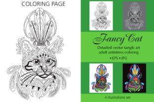 Coloring Page for Adult Fancy Cat Graphic Coloring Pages & Books Adults By Alinart